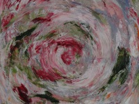 """Rose/oil and cold wax on canvas/12""""x12"""""""